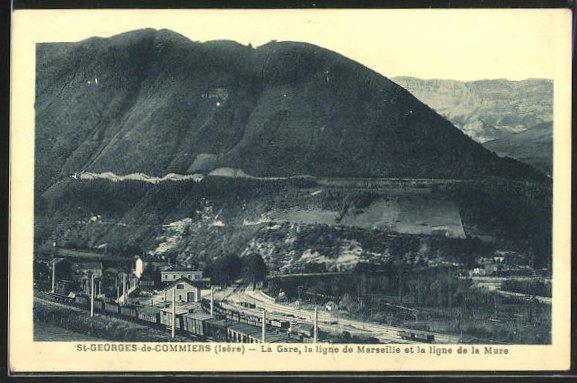 AK St-Georges-de-Commiers, La Gare, la ligne de Marseille et la ligne de la Mure