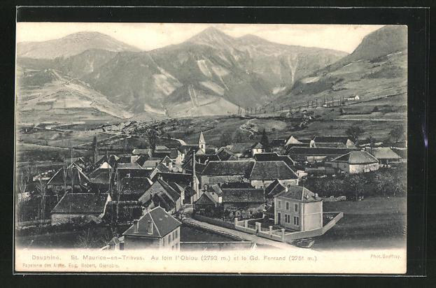 AK St. Maurice-en-Trièves, Ortsansicht gegen den Grand Ferrand