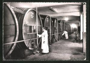 AK Voiron, Distillerie de la Grande Chartreuse, Lagerkeller mit Riesenfässern