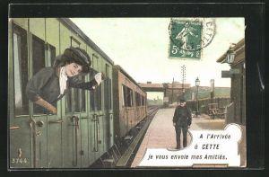 AK Cette, A l`arrivee a cette je vous envoie mes Amities, le train