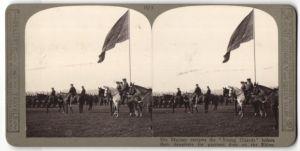 Stereo-Fotografie König George V. von England bei Parade der Young Guards vor Ausmarsch zum Rhein