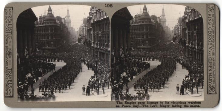 Stereo-Fotografie unbekannter Fotograf, Ansicht London, Peace Day, Parade der Truppen vor dem Bürgermeister