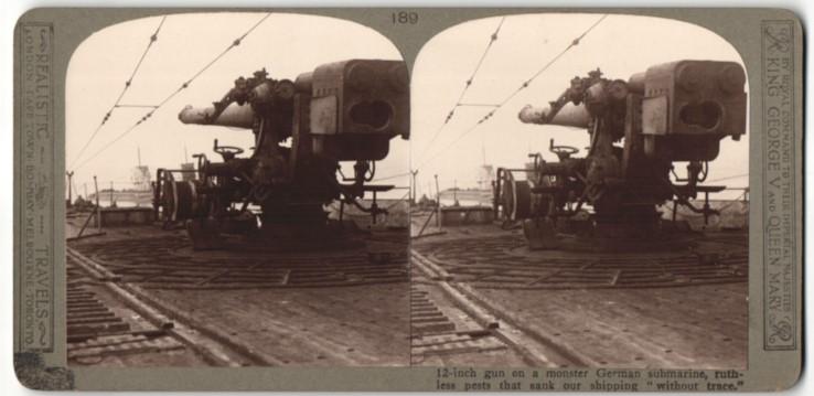 Stereo-Fotografie 12 Zoll Geschütz auf einem deutschen U-Boot