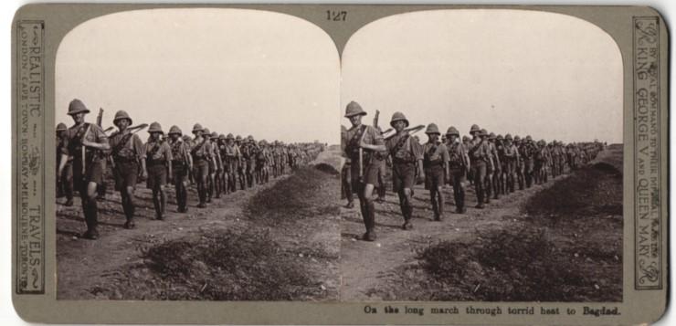 Stereo-Fotografie britische Infanterie auf dem Marsch nach Baghdad