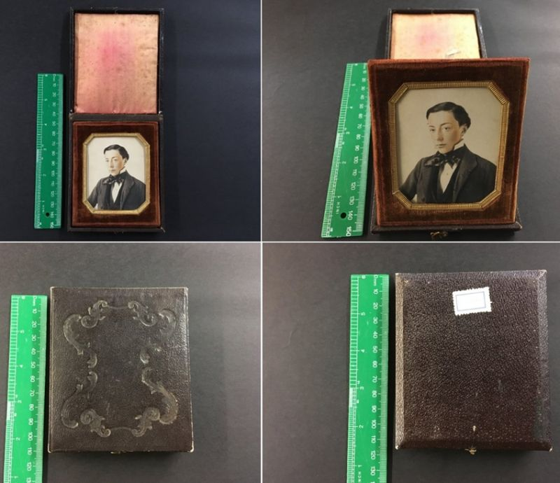 Fotografie Daguerreotypie coloriert in Schachtel, Portrait hübscher Knabe