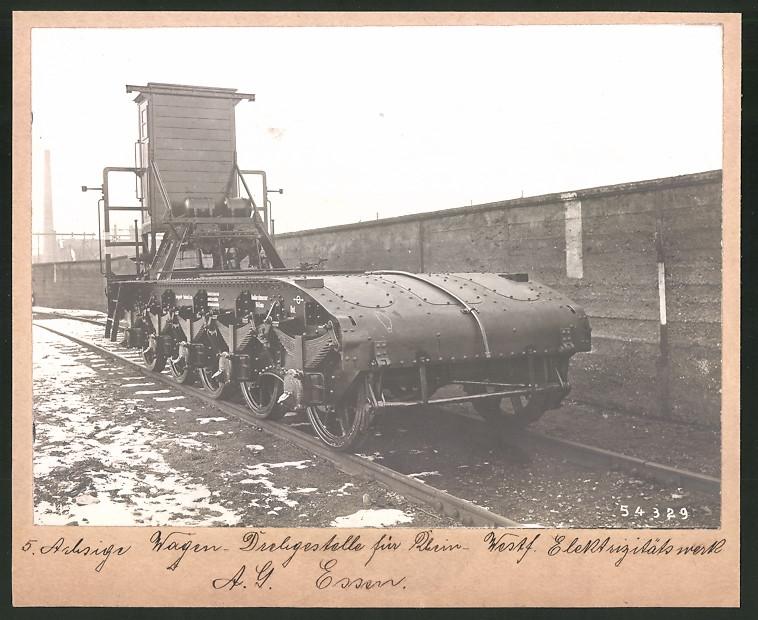 Fotografie Eisenbahn, Fünf-Achsiges Wagen-Drehgestell für Rhein-Westf. Elektrizitätswerk AG Essen