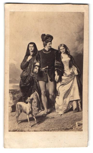 Fotografie Gemälde von unbek. Künstler, Mann mit zwei Damen und Hund, histor. Motiv