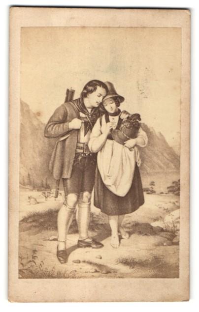Fotografie Gemälde von unbek. Künstler, Jäger und Maid