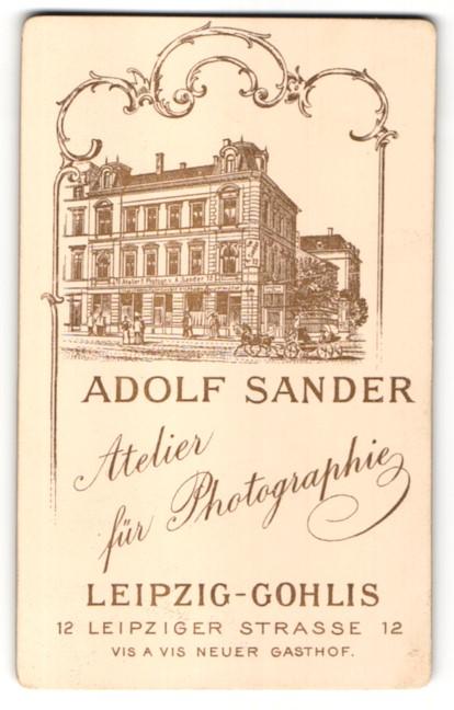 Fotografie Adolf Sander, Leipzig-Gohlis, rückseitige Ansicht Leipzig, Gohliser Strasse 53, vorderseitig Portrait Soldat