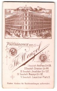 Fotografie Th. Wenzel, Berlin, rückseitige Ansicht Berlin, Atelier Andreas-Str. 28, vorderseitig Portrait Dame