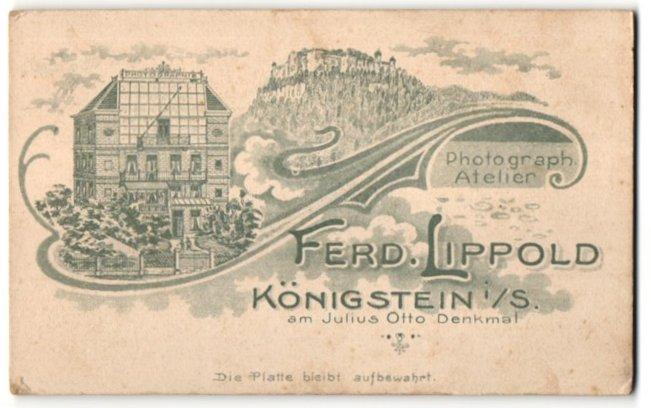 Fotografie Ferd. Lippold, Königstein i/S, rückseitige Ansicht Königstein i/S, Atelier am Julius Otto Denkmal