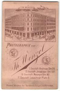 Fotografie Th. Wenzel, Berlin, rückseitige Ansicht Berlin, Atelier Andreas-Str. 28, vorderseitig Portrait drei Herren