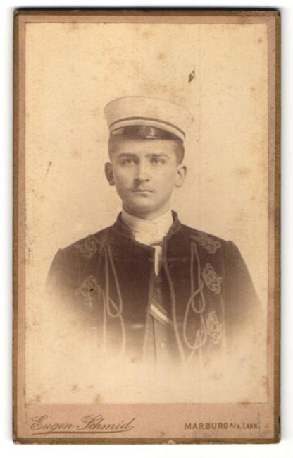 Fotografie Eugen Schmid, Marburg a/d Lahn, Portrait Student in vollem Wichs