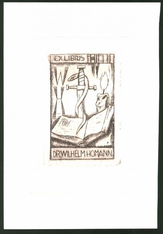 Exlibris von Tacke für Dr. Wilhelm Homann, offenes Buch im Kerzenschein, Initialien, Schwert & Schlange