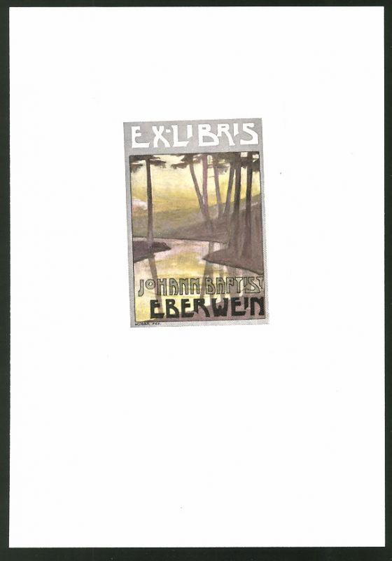 Exlibris von Kober für Johann Baptist Eberwein, Flusslauf von Bäumen gesäumt