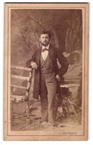 Fotografie V. Lobenwein, Klagenfurt, junger hübscher Mann im Anzug am Holzzaun stehend