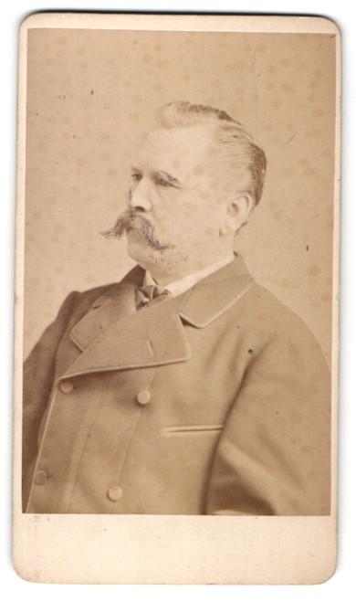 Fotografie Teich Hanfstaengl, Dresden, Portrait älterer Herr mit Schnauzbart