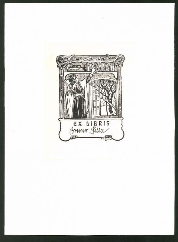 Exlibris von Kopler für Bruno Silla, Dame nimmt ein Buch aus dem Regal