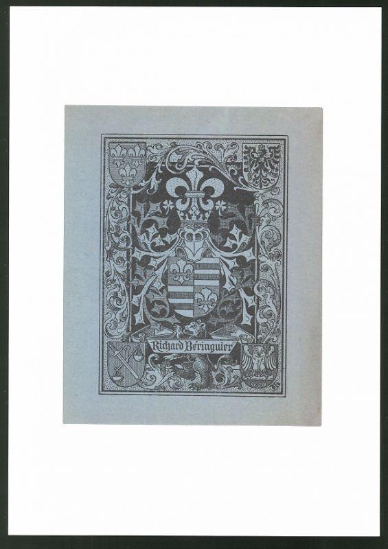 Exlibris Richard Beringuier, Bär und Wappen mit Ritterhelm, Ornamente
