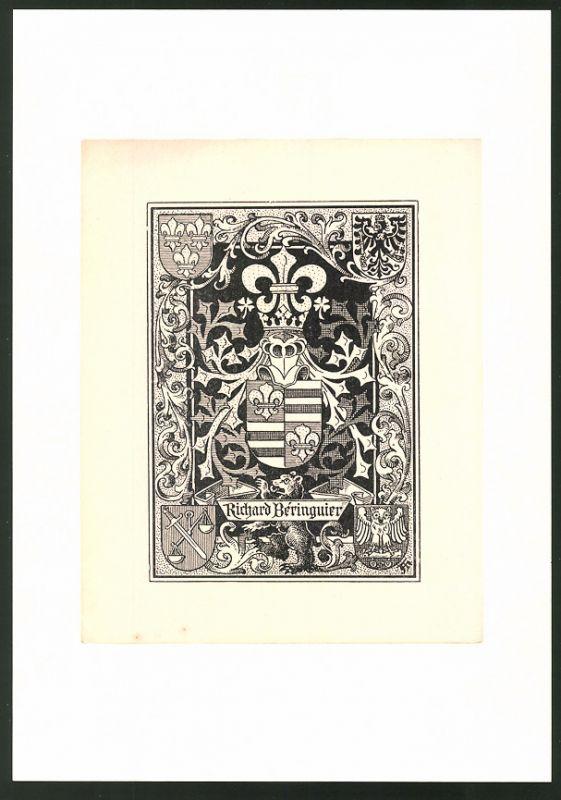 Exlibris Richard Beringuier, Wappen mit Ritterhelm über Bär