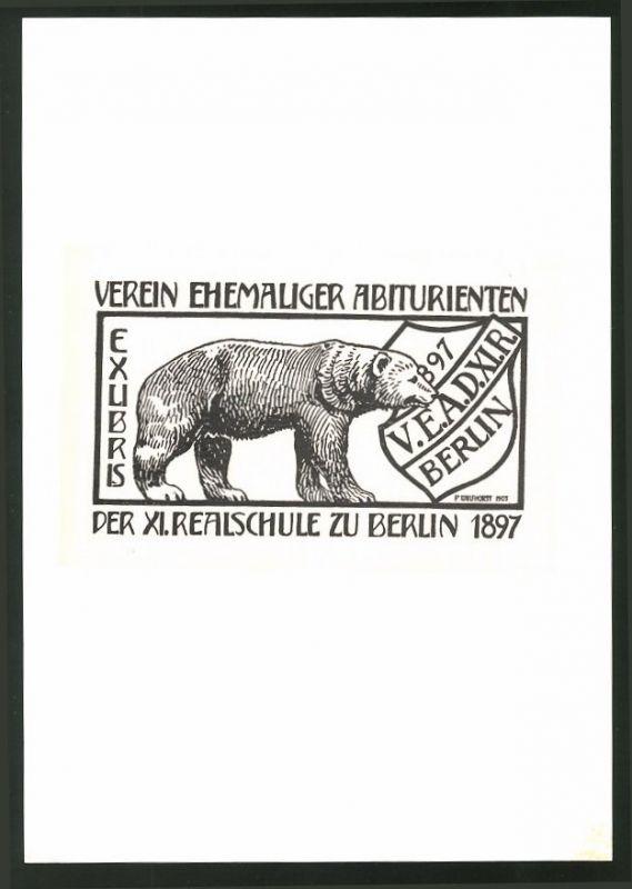 Exlibris von P. Wulfhorst für Verein Ehemaliger Abiturienten XI. Realschule zu Berlin, Bär und Wappenschild