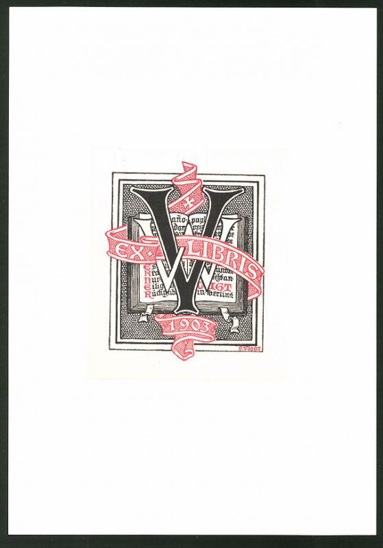 Exlibris von P. Voigt für Werner Voigt, 1903, offenes Buch und Initialen