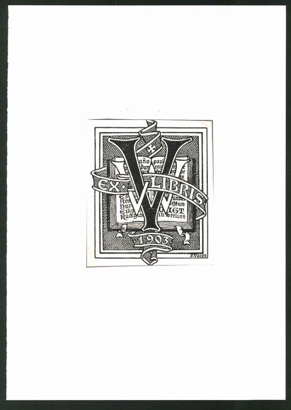 Exlibris von P. Voigt für Werner Voigt, 1903, offenes Buch & Initialen