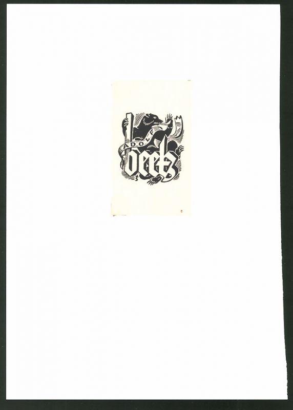 Exlibris von Vogenauer für Adolf Beetz, Bär & Namenszug
