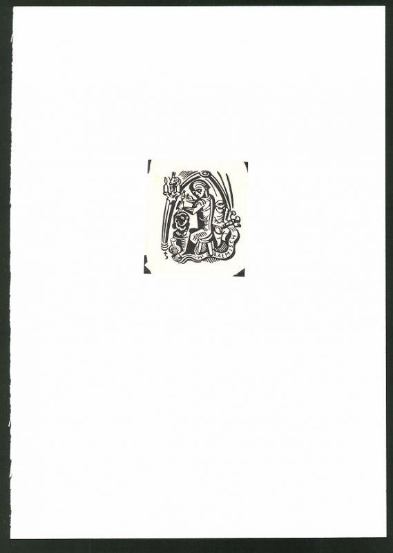 Exlibris W. Raemisch, Bildhauer bei der Arbeit
