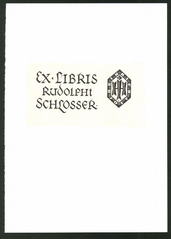 Exlibris von Vogenauer für Rudolph Schlosser, Wappen
