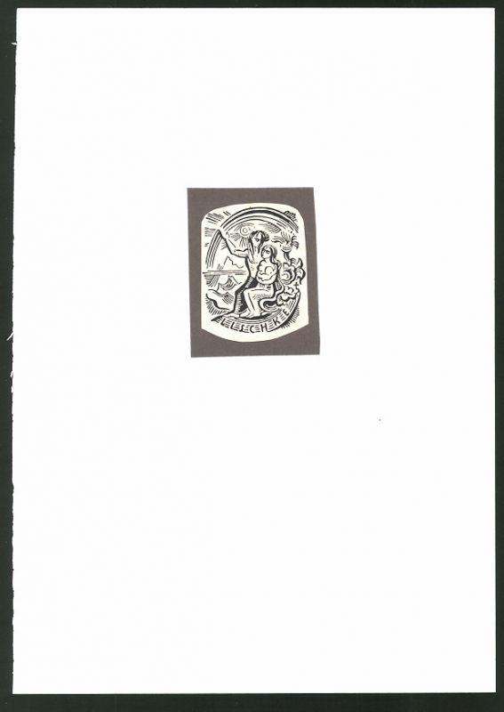 Exlibris von Vogenauer für Lischke, Paar in Akt am Strand