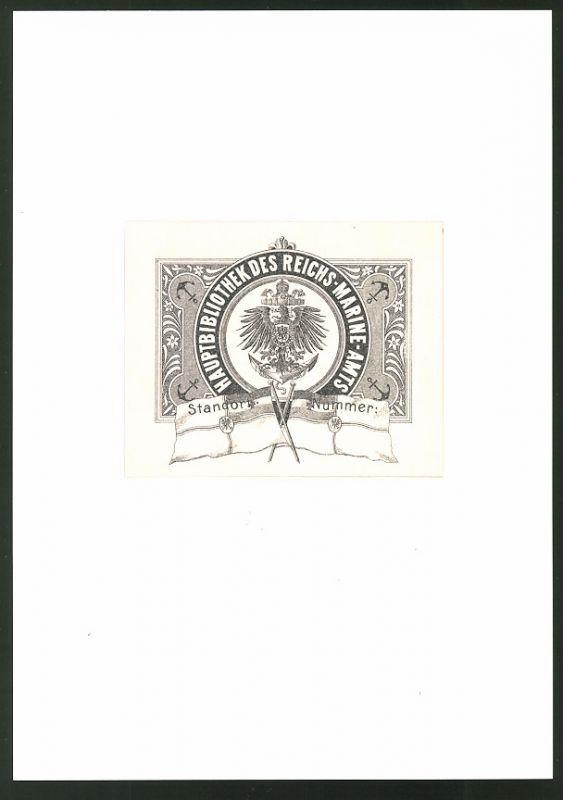 Exlibris von P. Voigt für Hauptbibliothek Reichs-Marine-Amt, Marine-Wappen Preussen, Reichskriegsfahne