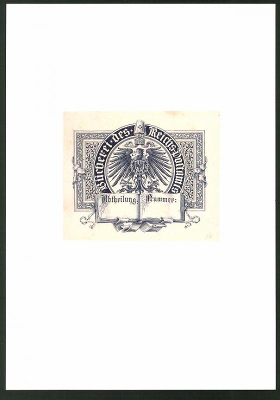 Exlibris von P. Voigt für Bücherei Reichs-Postamt, Wappen Preussen, Ornamente