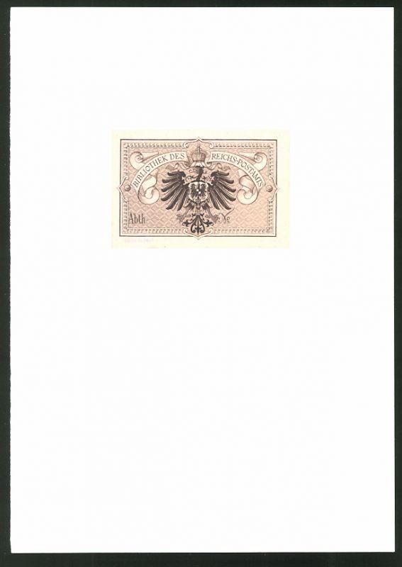 Exlibris von P. Voigt für Bibliothek Reichs-Postamt, Reichsadler