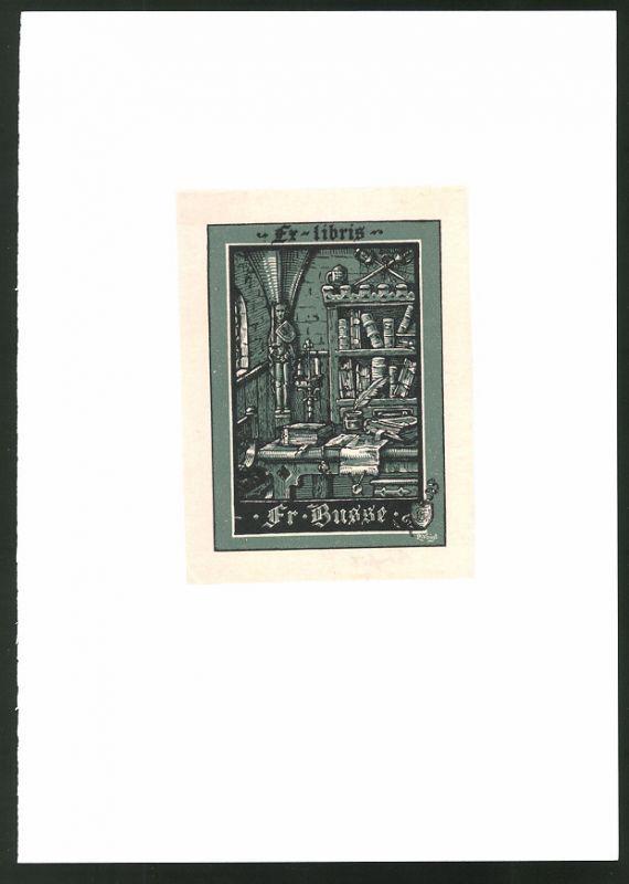 Exlibris von P. Voigt für Fr. Busse, Arbeitszimmer mit Schreibtisch und Bücherregal