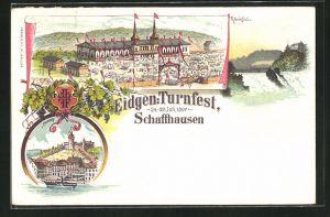 Lithographie Schaffhausen, Eidgenössisches Turnfest 1897, Festplatz, Rheinfall