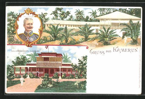 Lithographie Kamerun, Gouvernements-Gebäude, Plantage am Kriegshafen