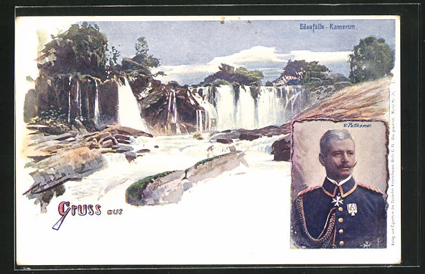 AK Kamerun, Panoramablick auf die Edeafälle, Gouverneur v. Puttkamer