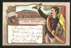 Lithographie Mannheim, VII. Badisches Sängerbundesfest 1903, Sänger mit deutscher Fahne