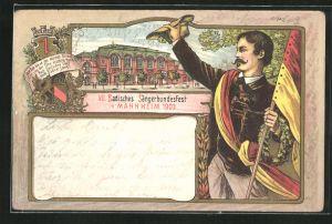 Lithographie Mannheim, VII. Badisches Sängerbundesfest 1903, Sänger mit deutscher Flagge