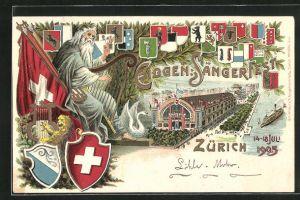 Lithographie Zürich, Eidgenössisches Sängerfest 1905, Festhalle