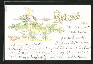 Präge-AK Zwerg reitet auf einem Frosch