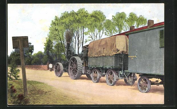 AK Dampfbetriebener Traktor zieht Planwagen