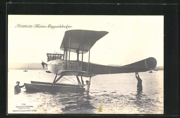 Foto-AK Sanke Nr. 336: Rumpler Marine-Doppeldecker Wasserflugzeug