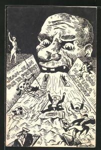 Künstler-AK Altdorf, Absolvia Matura 1920, Schüler auf Flössen treiben auf ein riesiges Maul zu