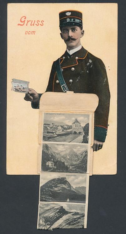 Leporello-AK Appenzellerland, Briefträger mit Posttasche voller Ansichten, Gasthaus zum Wildkirchli, Hauptstrasse