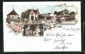 Lithographie Berlin-Zehlendorf, Alter Bahnhof, Wannsee-Bahnhof, Kaiser-Wilhelm-Denkmal