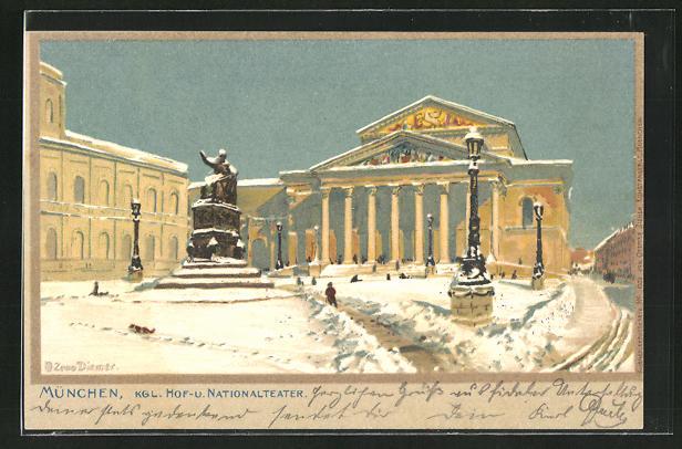 Künstler-AK Zeno Diemer: München, Kgl. Hof- u. Nationaltheater im Schnee