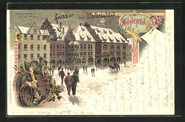 Winter-Lithographie München, Münchner Hofbräuhaus