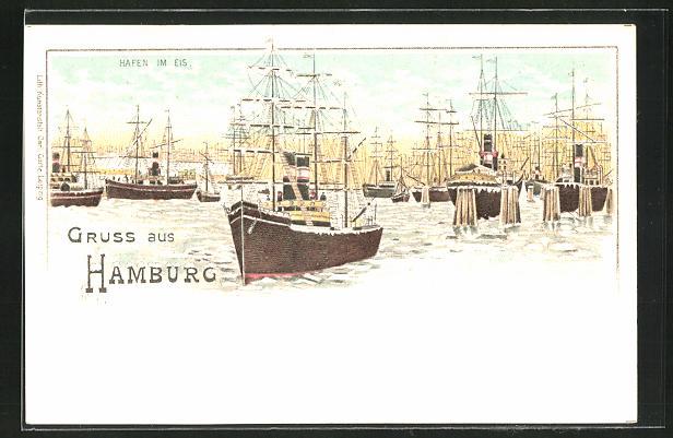 Winter-Lithographie Hamburg, Hafen im Eis